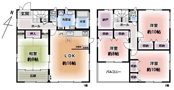 広々4LDK+納戸。 8帖の和室は、お子様の遊び場やお昼寝、来客用の寝室にと多様な用途で使えます。