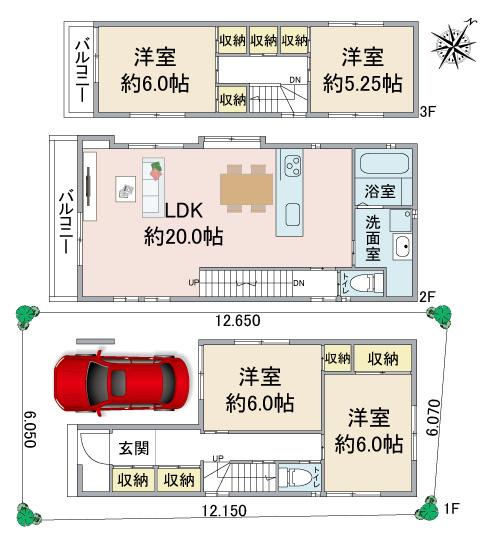 ・4LDK ・LDK約20帖 ・ビルトインガレージ ・対面式システムキッチン ・料理・洗濯・掃除動線◎