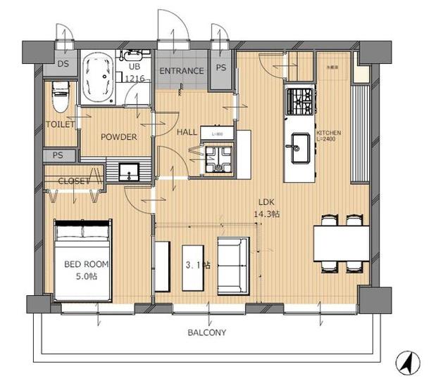 警固交差点すぐそばのレトロマンションの一室をフルリノベーション 大きなLDKと寝室のシンプルな間取りで暮らすライフスタイルを提案します