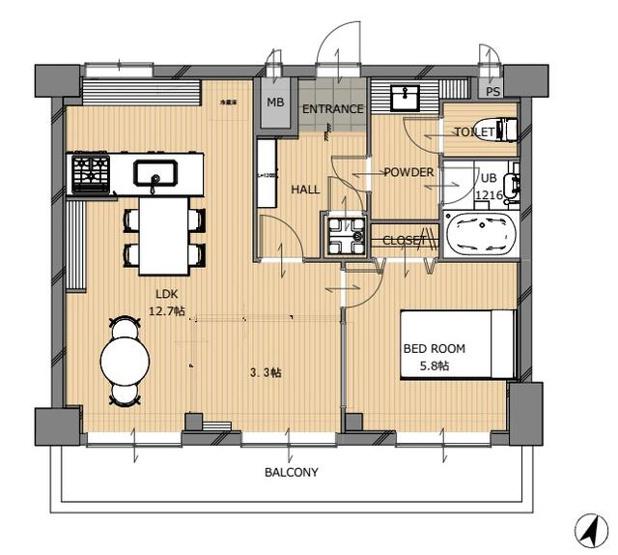 警固交差点すぐそばのレトロマンションの一室をフルリノベーション 広い1LDKまたは2LDKとして使えるフリーな間取り