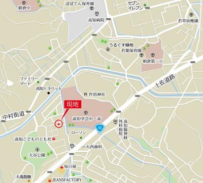 【地図】高知市大谷公園町