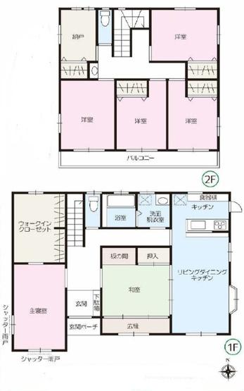 6LDK 建坪約52坪で大型住宅です。