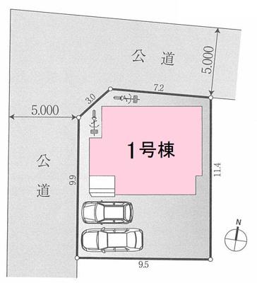 土地面積110㎡超。駐車スペース2台分あります(車種による)。