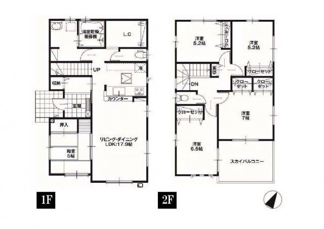 建物面積36.07坪 広々17.9帖のLDK♪リビングクローク・各部屋収納付きで便利です!スカイバルコニーなので気持ち良くお洗濯物も沢山干せます♪