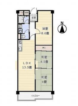 中古マンション 3LDK 専有面積:67.63平米(壁芯)バルコニー面積:7.21平米 南向き