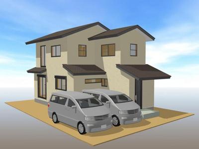 完成予想図 オール電化・南道角地!風致地区内の物件のため建物のまわりに余裕あり!