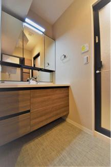 大きな鏡、収納豊富で使いやすい独立洗面台です。
