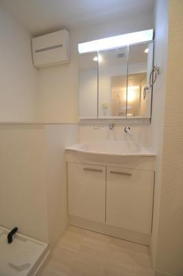 朝の身支度にも便利な洗面化粧台。隣には室内洗濯機置場がございます。