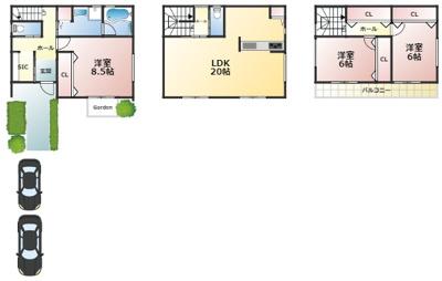 プランB: 建物価格2,280万円、 延床面積107.73㎡(1F:36.45㎡、2F:38.88㎡