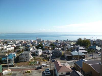 バルコンーからの眺望を撮影。オーシャンビューな眺望。