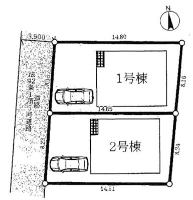 【区画図】城陽市平川第1 新築戸建