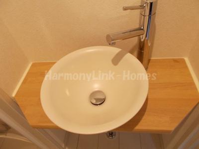 ブロッサムテラス中台の独立洗面台、小物を置くことができて便利です★
