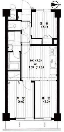 2LDK 専有面積:50.16m2 バルコニー面積:4.90m2 新規リフォーム済み
