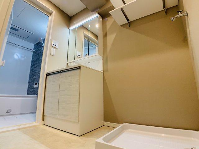 お掃除のし易いフチなし洗面ボウル。可動式のシャワーヘッドなど、使い易さ・利便性を重要視した独立洗面台