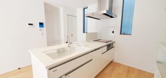 白を基調とした明るいキッチンです