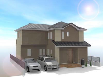 建物外観パース(図面を基に描き起こしたもので、実物と異なる場合があります。車等は販売価格に含まれません。)
