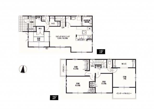 建物面積36.07坪 広々18.5帖のリビングの5LDKのお家♪ウォークインクローゼット・シューズインクローク・各部屋収納付きで便利です!