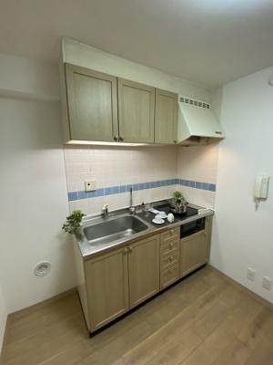 2口ガスコンロのシステムキッチンです。 壁付けタイプでお部屋を広くお使いいただけます。