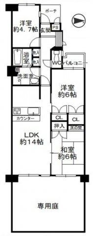 3LDK、価格2398万円、専有面積71.93㎡、テラス面積8.59㎡、専用庭面積24.41
