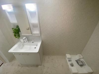 室内洗濯機置場も備わったパウダールームです。