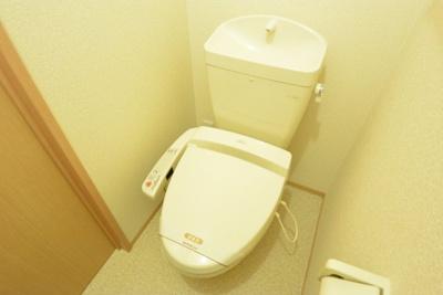 白くてピカピカのトイレですね。癒しの空間になりそう。