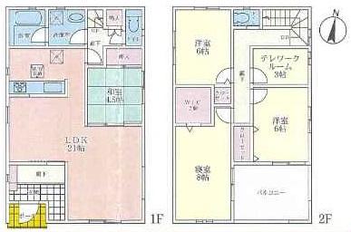 (2号地)、価格4790万円、4LDK+テレワークルーム、土地面積150.07㎡、建物面積123.12㎡
