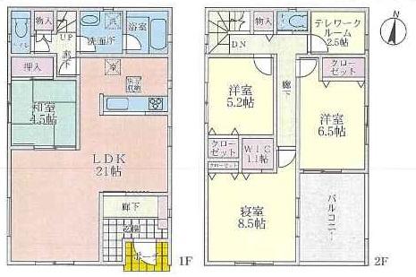 (3号地)、価格4790万円、4LDK+テレワークルーム、土地面積150.01㎡、建物面積123.12㎡