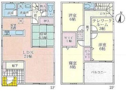 (8号地)、価格4555万円、4LDK+テレワークルーム、土地面積133.65㎡、建物面積123.12㎡