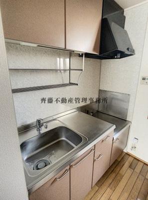 ガスコンロが設置可能なキッチンです。