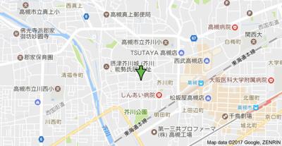 【地図】芥川ロイヤルマンション (株)Roots