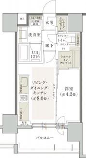 2名でも使い易い1LDKタイプです。寝室との間にスライドウォールがあるので、寝室との空間を分けられます。