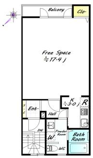 南西向きの最上階のお部屋です。居室スペースが約17.4帖あり多様なお部屋造りが可能です。