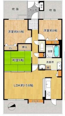 中古マンション 3LDK 専有面積75.49平米(壁芯) バルコニー面積14.90平米 西向き