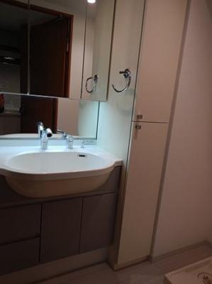 大きめボウルにシャワー付き洗面台は朝のお支度に重宝