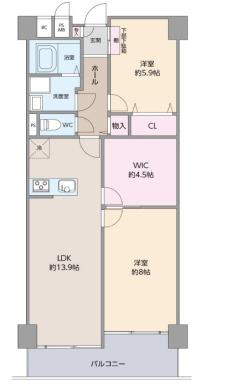 中古マンション 3LDK 専有面積:69.02平米(壁芯) バルコニー面積:8.17平米 南向き