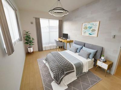 【施工例】明るい居室は主室に良いですね。クローゼット付きなのでスッキリとお気に入りの家具を配置できます。 ※施工例イメージ写真です。