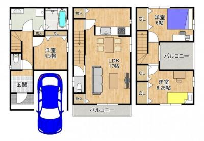全2区画1号地【 参考プラン】 延べ床面積:99.22m2 参考建物価格:1500万円 外構費等別途要