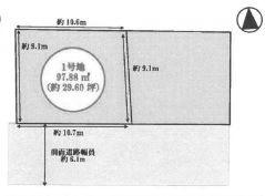 【区画図】池田市畑3丁目 新築戸建 1号地