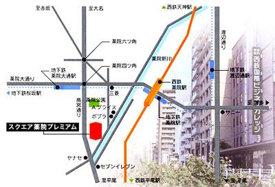 【地図】スクエア薬院プレミアム