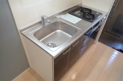 2口ガスコンロ/グリル付きシステムキッチンです☆場所を取るお鍋やお皿もたっぷり収納できてお料理がはかどります!