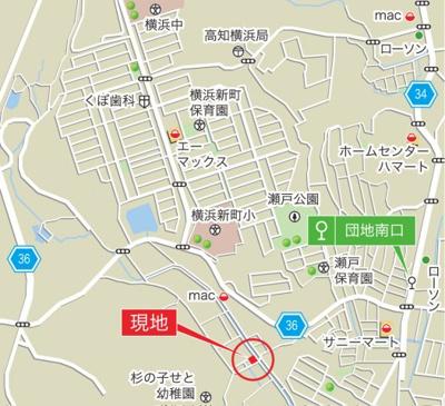 【地図】長浜6棟3 4LDK