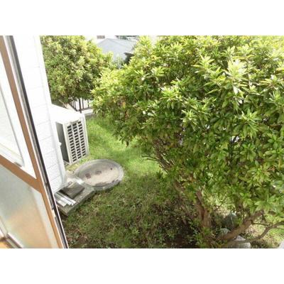 陽当たりの良いお庭、掃き出し窓の左右に物干し竿用フックあります