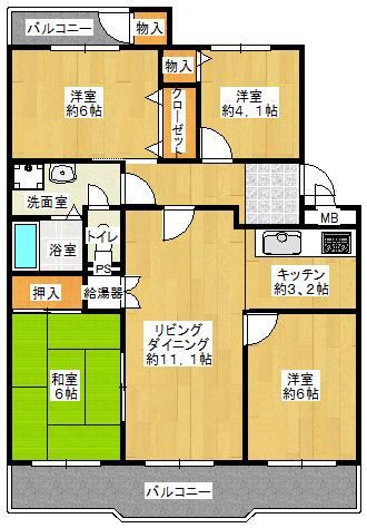 4LDK、価格1780万円、専有面積79.66㎡、バルコニー面積14.29㎡