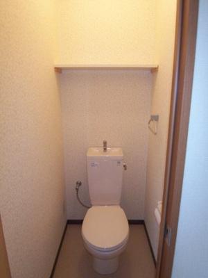 落ち着いた色調のトイレです。温水洗浄便座付きです。