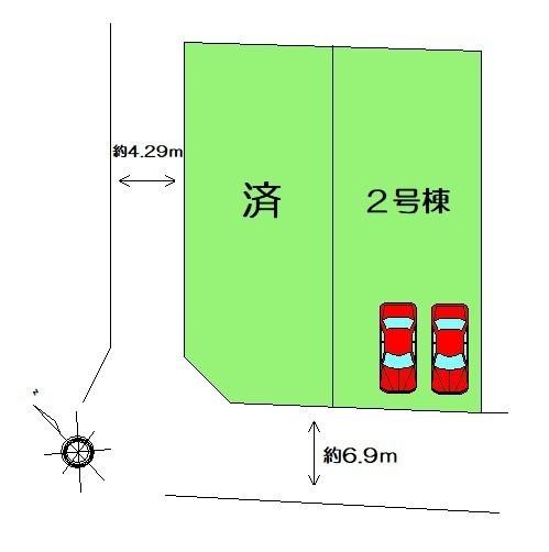 「区画図」全2区画・カースペース2台分