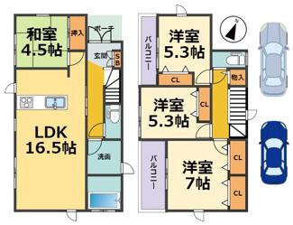 【区画図】西宮市浜甲子園新築戸建 2区画