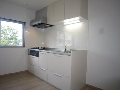 ワイドなスライド収納、シンプルで使い勝手の良いキッチンです。(新規交換済)