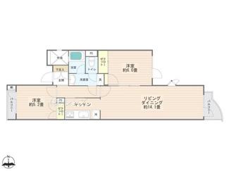 最上階4階の開放的な2LDK、新規内装リノベーション済です