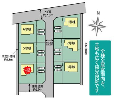 【区画図】ブルーミングガーデン 新築戸建て 羽生市神戸-全6棟-