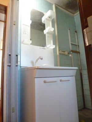 洗面化粧台。シャワーヘッドが伸びますので日ごろのお掃除もしやすいです。